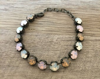 Swarovski Crystal Opal dreams - 8mm Bracelet with Constrasting Antique Brass Finish