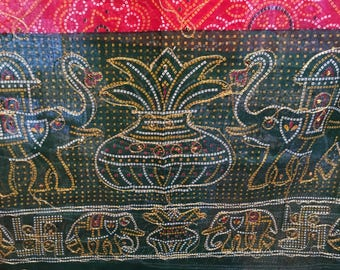 Vintage 1960's East Indian Silk and Cotton Scarf ... Metallic Threads ...