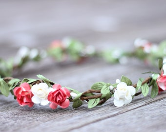 Coral Red and Ivory White Flower Crown Flower Girl Headband Crown Hair Accessories Flower Girl Headpiece Girl Head Wreath Flower Girl Tiara