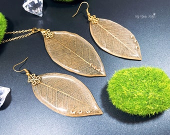 Leaf Necklace, Gold Leaf Necklace, Real Leaf Jewelry, Crystal Resin Jewelry, Gold Leaf Earrings, Nature Jewelry, Leaves Jewelry