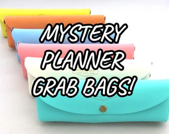Planner Grab Bag, Surprise Planner Bag, Pencil Case, Planner Stickers, Planners, Washi Tape, Pens, Sticky Notes, Mystery Grab Bag