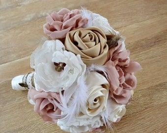 Vintage Wedding Bouquet Fabric Flowers Feathers. Wedding Bouquet.Blush Bridal Bouquet. Ivory, blush, cream tones, dusty pink.Vintage bouquet