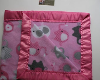 Pink Elephant Satin Edged Blanket