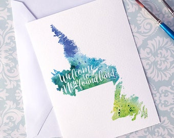 Newfoundland Watercolour Map Greeting Card, Greetings from Newfoundland Hand Lettered Text, Gift or Postcard, Giclée Print, Choose 5 Colours