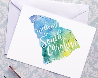 South Carolina Watercolor Map Greeting Card, Welcome to South Carolina Hand Lettered Text, Gift or Postcard, Giclée Print, Map Art, 5 Colors