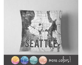 Watercolor Seattle map throw pillow
