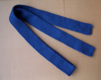 unusual knitted skinny solid denim color street fashion necktie a cool gift for a cool season winter wedding