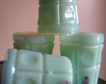 FENTON Set of 4 Plymouth #1620 Jade Thumbprint 7 oz flat Tumbler