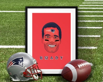 Tom Brady New England Patriots Superbowl Illustrated Poster Print | A6 A5 A4 A3