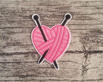 Knitting heart patch