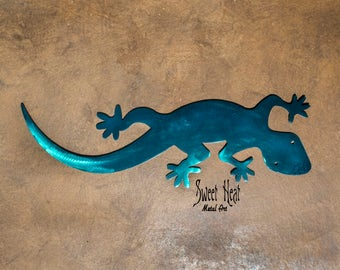 Anole Lizard, Teal and Blue Hand Dyed Steel