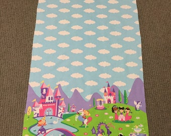 Girls cotton quilt fabric. Border fabric Cloud fabric Princess Castle Horse fabric panel Fairy tale quilt panel Pony quilting fabric Pegasus