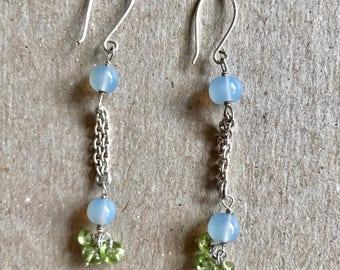 "Handmade Sterling Silver Blue and Green Earrings 2"""