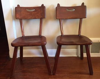 Mid Century Modern Rustic Solid Teak Chairs By JAN KUYPERS Imperial  Furniture Co. Desk Chairs