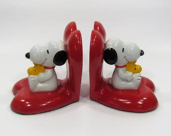 Snoopy Woodstock Bookends, 1972 Red Heart Bookends, Peanuts Childrens Decor