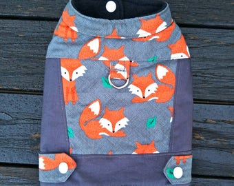 Fox Winter Dog Vest/Harness, Fleece Lined Dog Jacket, Small Dogs, Dog Coat