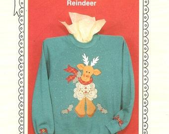 Ozark Crafts Reindeer Applique Doily Wear 1994 Free Us Ship Craft Sewing Pattern Uncut