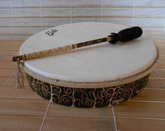 16'' Shaman Drum with stick - The strange forest