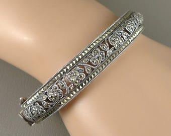 Sterling Silver Marcasite Bracelet, Vintage Judith Jack Sterling Silver Marcasite Bangle Bracelet, Pierced Floral Design