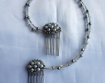 Pearl Bridal hair piece, Pearl and Diamante bride head chain, Diamante and pearl drape, pearl wedding hair accessory, brides hair chain