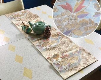 """Table Runner made from a Vintage Japanese Obi Belt """"Garden Party"""""""