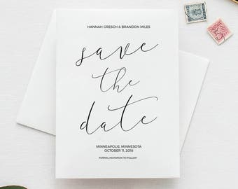 Calligraphy Save the Date, Script Save the Date, Save the Date Template, Printable Save the Date Card, DIY Save the Date, Formal, STD 16