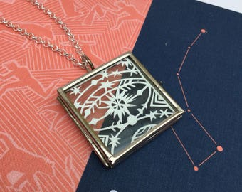 Square Glass Locket Pendant with Unique Papercut - Space planet and star themed symbol, motif necklace with Silver Plated chain - Jewellery
