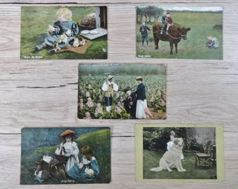 5x Antique Hand painted Tinted postcards children toddler animals baby card