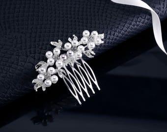 Rhinestone Comb, Pearl Comb, Crystal Pearl Comb, Bridal Comb, Wedding Comb, Bridal Hair Piece Rhinestone Hair Pin Crystal Hair Pin Hair Comb
