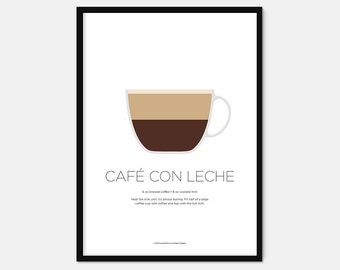 Café con leche coffee print – Coffee art – Coffee gifts – Coffee lovers gifts – Espresso – Kitchen print – Kitchen art – Wall art – Gift