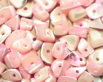 Shell nugget beads; pretty in pink, Mother of Pearl, shell nugget beads, 5-10x5-8x3-5mm, 48pcs/2.00