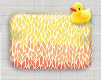 bath mat orange yellow ombre leaf design pattern pantone colors custard tangerine bath rug home decor