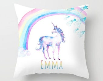 Custom Personalized Unicorn Rainbow  Baby Nursery Pillow Pastel Color Baby Girl Boy Available With or Without a Name