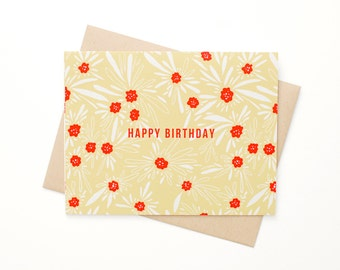 Floral Birthday Card, Happy Birthday Card, Blank card, Boho, Floral, Hand drawn botanical card