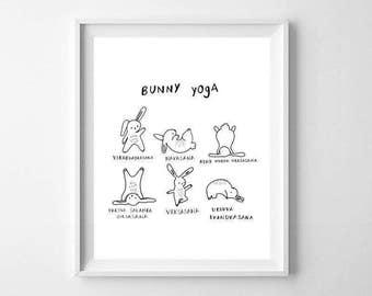 Funny Yoga Poses Print - Funny Yoga Wall Art - Cute Yoga Print - Yoga Studio Print - Yoga Poses Print - Bunny Yoga Print - Funny Bunny Print