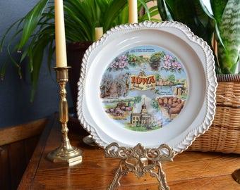 Iowa State Souvenir Plate | Hawkeye State Decorative Dish | Collectible Iowa State Plate | Kitschy Kitsch Souvenir Plate | Unique Shape