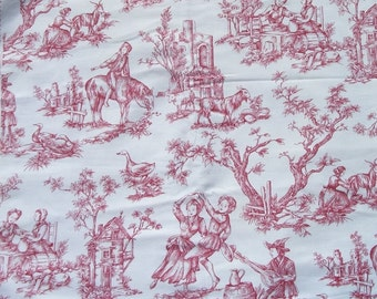 Vintage French Fabric Toile de Jouy  Pastoral Romantic Vignettes Antique Pink Red material