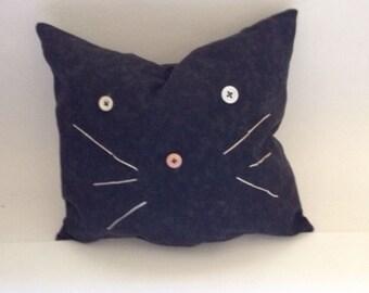 Whimsical black cat pillow