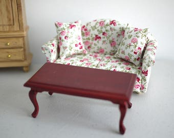 Dollhouse armchair cushion dolls house twin double seat sofa brown coffee table living room table 1 12th scale miniature