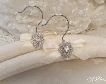Alencon Lace Bridal Hanger with Crystal