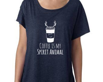 Coffee Graphic Tee, Coffee is My Spirit Animal, Women's Graphic Dolman Style, Funny Gift for Her, Shirts with Sayings, Navy