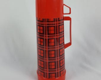 Vintage Plaid Aladdin's Quart Thermos Red and Black