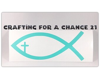 Jesus Christ Fish with Cross Vinyl Decal, Jesus decal, Cross decal, Car Decal, Vinyl Decal, Vinyl Sticker, Laptop Decal, Yeti Decal, Decal