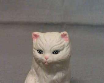 White Cat Sitting with Blue Eyes Pink Ears Nose and Mouth Cat Figurine