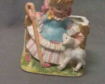 Enesco Ene Rockwell 1979 Girl Colorful with White Lamb Sheep Planter
