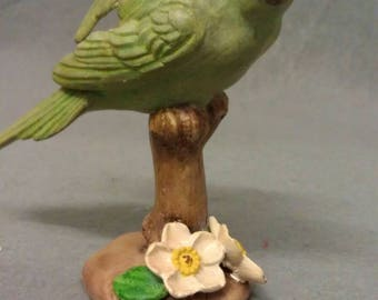 Green Bird Parakeet ? With Flowers on Stand