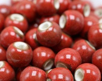 50 x Hawthorn red ceramic beads