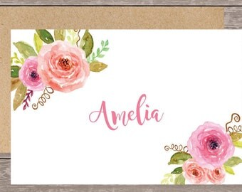 Personalized stationery set/Floral Initial Notecard/Monogram Note Card/Personalized stationery