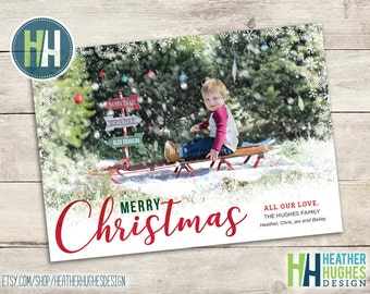 Printable photo Christmas card, Merry Christmas printable family holiday card with photo and snowflake border, personalized