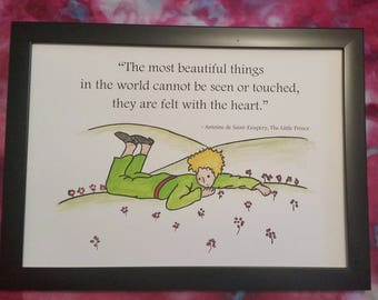 A4 The Little Prince Quote and Watercolour Painting Hand Painted Beautiful Things Hill Flowers Antoine de Saint-Exupéry Children/Adult Book